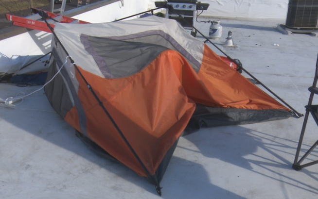 Montgomery's first tent collapsed. Since then, he's purchased a new, sturdier one